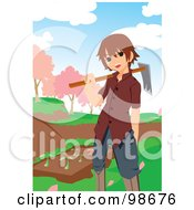 Little Boy Carrying A Tool By A Garden