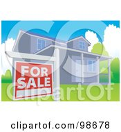 Royalty Free RF Clipart Illustration Of A For Sale Sign Posted In The Yard Of A Modern House by mayawizard101