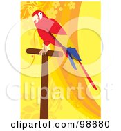 Royalty Free RF Clipart Illustration Of A Scarlet Macaw On A Wood Perch