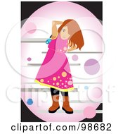 Royalty Free RF Clipart Illustration Of A Happy Girl Listening To Music 2 by mayawizard101