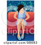 Royalty Free RF Clipart Illustration Of A Sick Woman Hanging Over On A Chair by mayawizard101