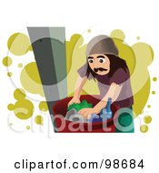 Royalty Free RF Clipart Illustration Of A Man Digging Through Trash by mayawizard101