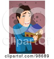 Royalty Free RF Clipart Illustration Of A Man Crying And Hugging A Home by mayawizard101