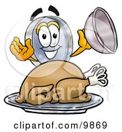Clipart Picture Of A Magnifying Glass Mascot Cartoon Character Serving A Thanksgiving Turkey On A Platter by Toons4Biz