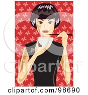 Royalty Free RF Clipart Illustration Of A Woman Eating A Bowl Of Noodles