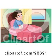 Royalty Free RF Clipart Illustration Of A Sick Man In Bed With A Thermometer And Water