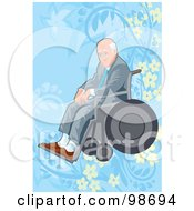 Royalty Free RF Clipart Illustration Of A Senior Man Sitting In A Wheelchair