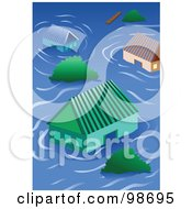 Royalty Free RF Clipart Illustration Of Homes Flooded In A Storm