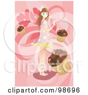 Girl Holding A Sucker Surrounded By Cupcakes