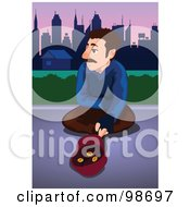 Royalty Free RF Clipart Illustration Of A Man Sitting On A Sidewalk With Money In His Hat by mayawizard101