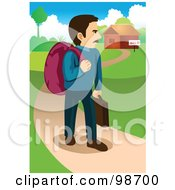 Royalty Free RF Clipart Illustration Of A Man Walking Away From A Sold House by mayawizard101