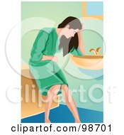 Royalty Free RF Clipart Illustration Of A Sick Woman Resting Against A Bathroom Sink by mayawizard101