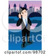 Royalty Free RF Clipart Illustration Of A Business Man Talking On A Skyscraper Rooftop by mayawizard101