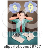 Royalty Free RF Clipart Illustration Of A Stressed Business Man Trying To Organize His Finances