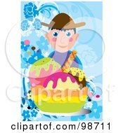 Royalty Free RF Clipart Illustration Of A Boy With A Giant Sundae by mayawizard101