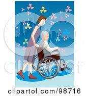 Royalty Free RF Clipart Illustration Of A Nice Woman Pushing A Senior Man In A Wheelchair