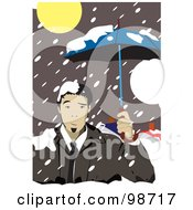 Business Man Using An Umbrella In The Snow