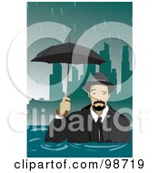 Royalty Free RF Clipart Illustration Of A Businessman In A Flooded City by mayawizard101