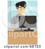 Royalty Free RF Clipart Illustration Of An Asian Business Man Using An Office Computer