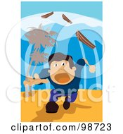 Royalty Free RF Clipart Illustration Of A Man Running Through A Tsunami by mayawizard101