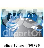 Royalty Free RF Clipart Illustration Of A Meeting Of Blue Business People