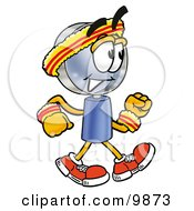 Clipart Picture Of A Magnifying Glass Mascot Cartoon Character Speed Walking Or Jogging