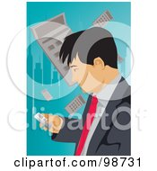 Royalty Free RF Clipart Illustration Of A Business Man Using A Cell Phone With A Calculator Urban Background by mayawizard101