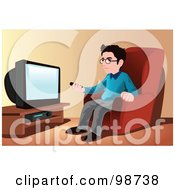 Royalty Free RF Clipart Illustration Of A Man Pointing A Clicker At A TV