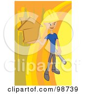 Royalty Free RF Clipart Illustration Of A Construction Worker Holding Blueprints And An Orange Home by mayawizard101