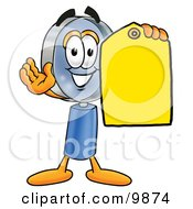 Clipart Picture Of A Magnifying Glass Mascot Cartoon Character Holding A Yellow Sales Price Tag by Toons4Biz