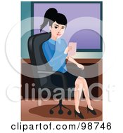Royalty Free RF Clipart Illustration Of A Business Woman Holding A Memo And Sitting In An Office Chair