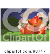 Royalty Free RF Clipart Illustration Of A Wilderness Home Burning In A Wildfire