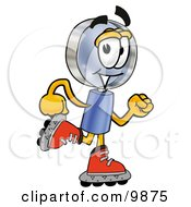 Clipart Picture Of A Magnifying Glass Mascot Cartoon Character Roller Blading On Inline Skates