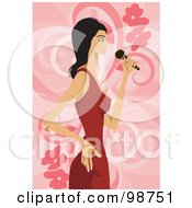Royalty Free RF Clipart Illustration Of A Musical Woman Singing 2