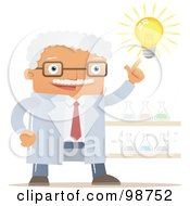 Royalty Free RF Clipart Illustration Of A White Haired Professor With A Bright Idea