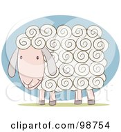 Royalty Free RF Clipart Illustration Of A White Sheep With Curly Hair by Qiun #COLLC98754-0141
