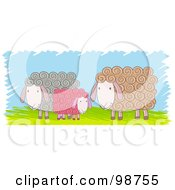 Royalty Free RF Clipart Illustration Of Three Colorful Sheep Over Grass
