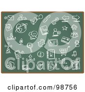Royalty-Free (RF) Clipart Illustration of a Green Chalk Board With Icon Drawings by Qiun