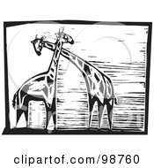 Royalty Free RF Clipart Illustration Of Black And White Wood Engraved Giraffes