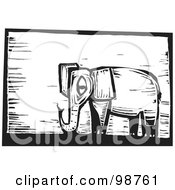 Royalty Free RF Clipart Illustration Of A Black And White Wood Engraved Elephant by xunantunich