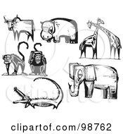 Royalty Free RF Clipart Illustration Of A Digital Collage Of Black And White Engraved Zoo Animals by xunantunich
