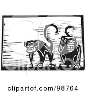 Royalty Free RF Clipart Illustration Of Black And White Wood Engraved Monkeys