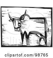 Royalty Free RF Clipart Illustration Of A Black And White Wood Engraved Ox