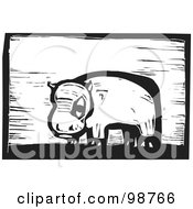 Royalty Free RF Clipart Illustration Of A Black And White Wood Engraved Hippo by xunantunich