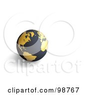 Royalty Free RF Clipart Illustration Of A 3d Matte Black And Golden Globe