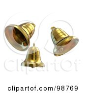 Royalty Free RF Clipart Illustration Of Three 3d Golden Bells Ringing