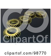 Line Of 3d Gold Cogs Over Gray