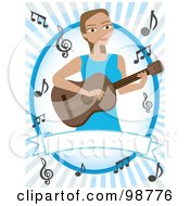 Royalty Free RF Clipart Illustration Of A Female Guitarist With Music Notes Over A Blank Banner by mheld
