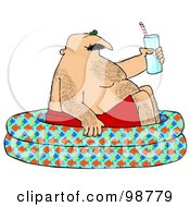 Royalty Free RF Clipart Illustration Of A Hairy Caucasian Man Holding A Glass Of Water And Soaking In A Kiddie Pool