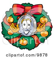 Clipart Picture Of A Magnifying Glass Mascot Cartoon Character In The Center Of A Christmas Wreath by Toons4Biz